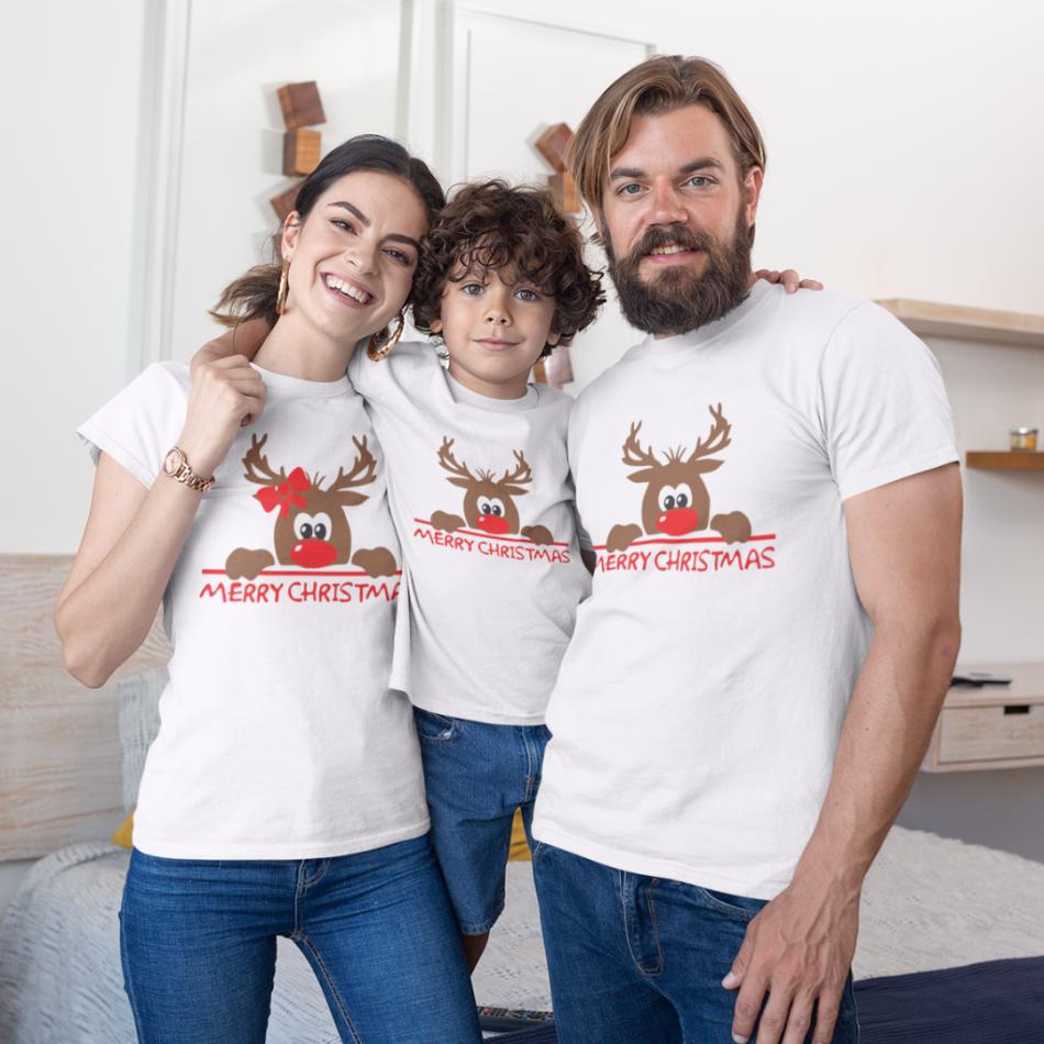 Vánoce rodinný set v bílé barvě Merry Christmas Hiding Deer