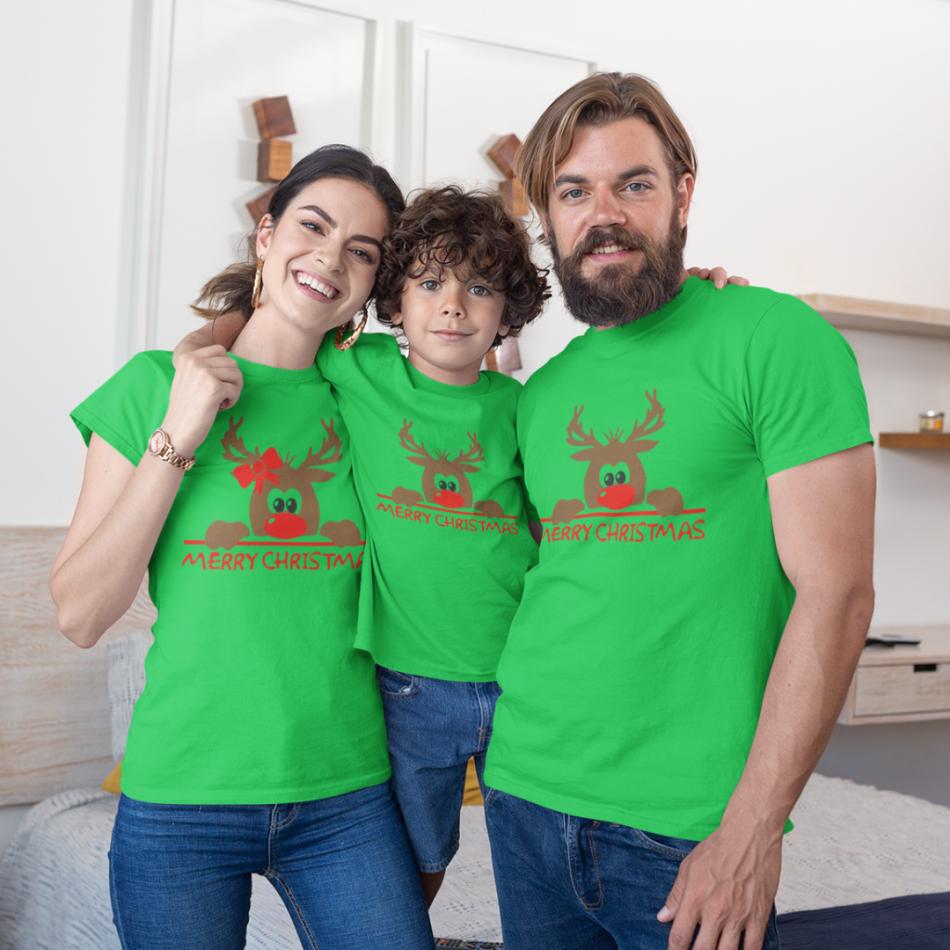 Vánoce rodinný set v zelené barvě Merry Christmas Hiding Deer