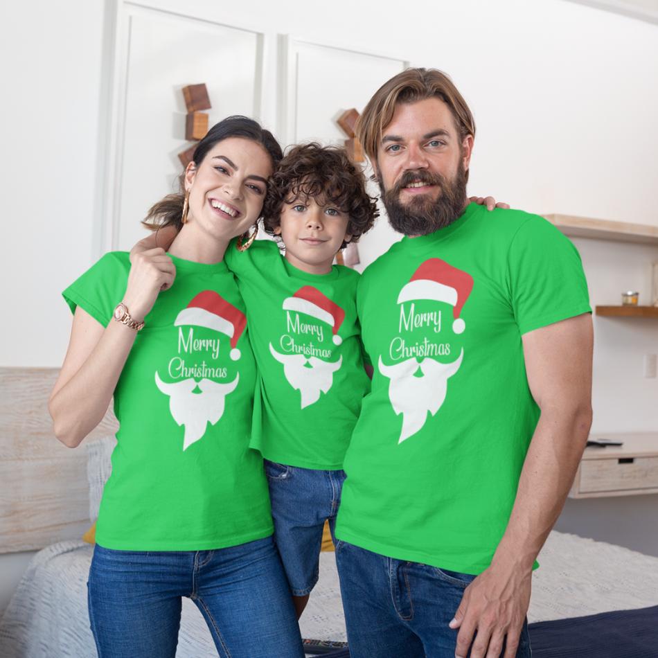 Vánoce rodinný set v zelené barvě Merry Christmas Beard