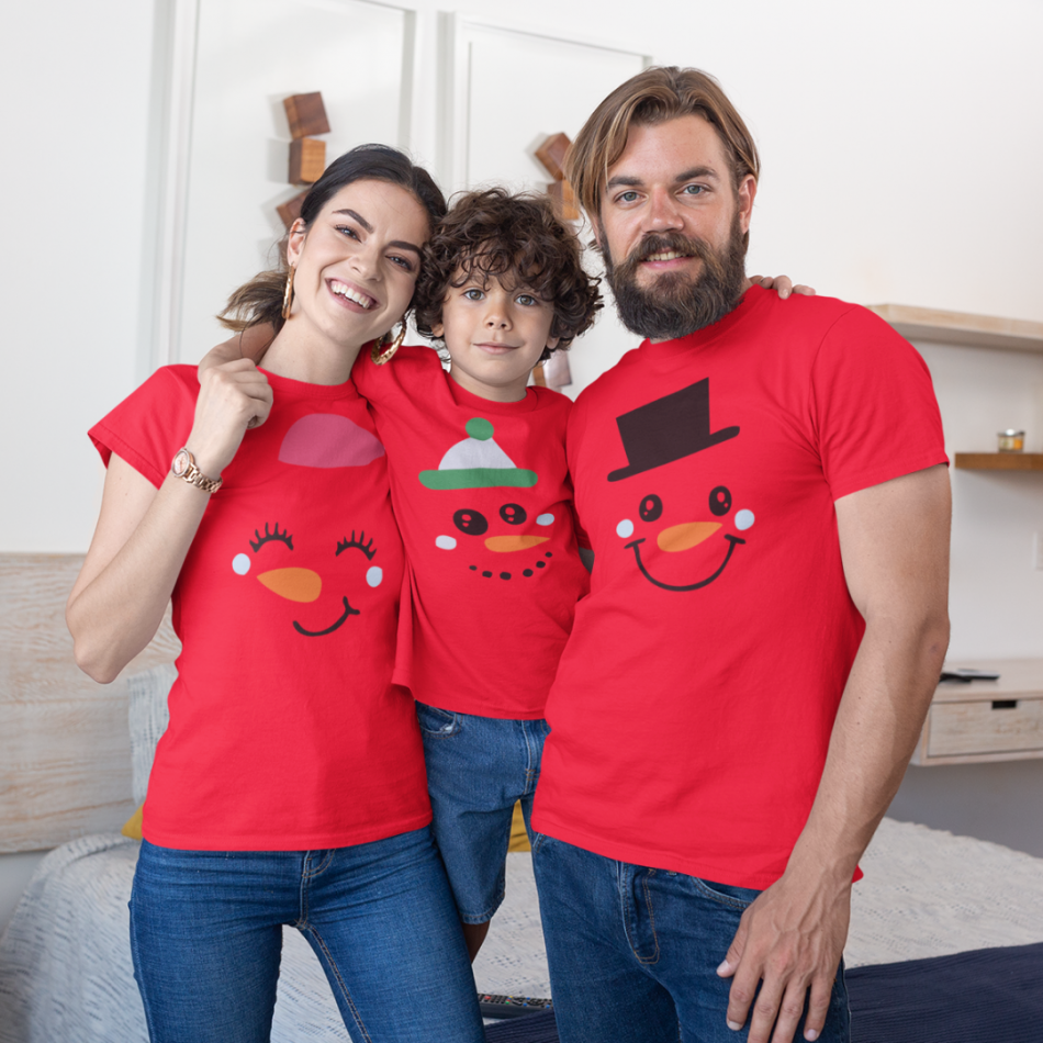Vánoce rodinný set v červené barvě Merry Christmas Happy Family