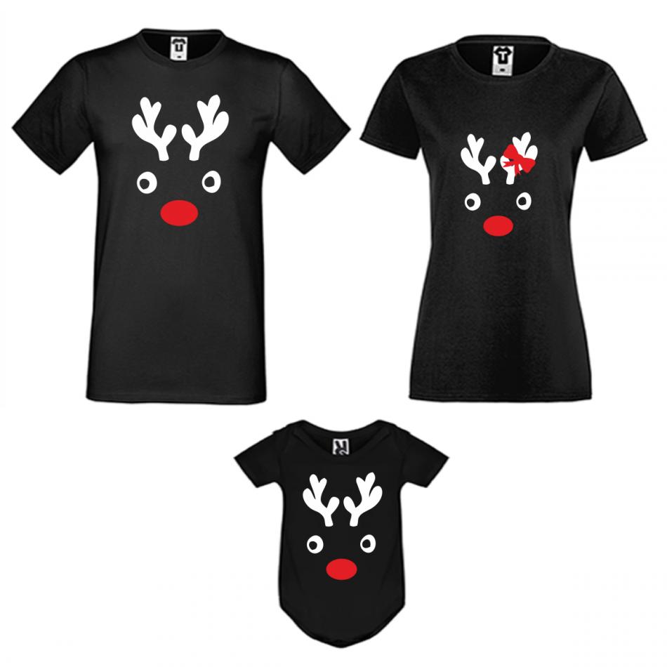 Rodinný set v černé barvě Christmas Elk