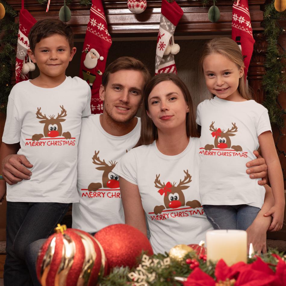 Rodinný set v bílé barvě Merry Christmas Hiding Deer