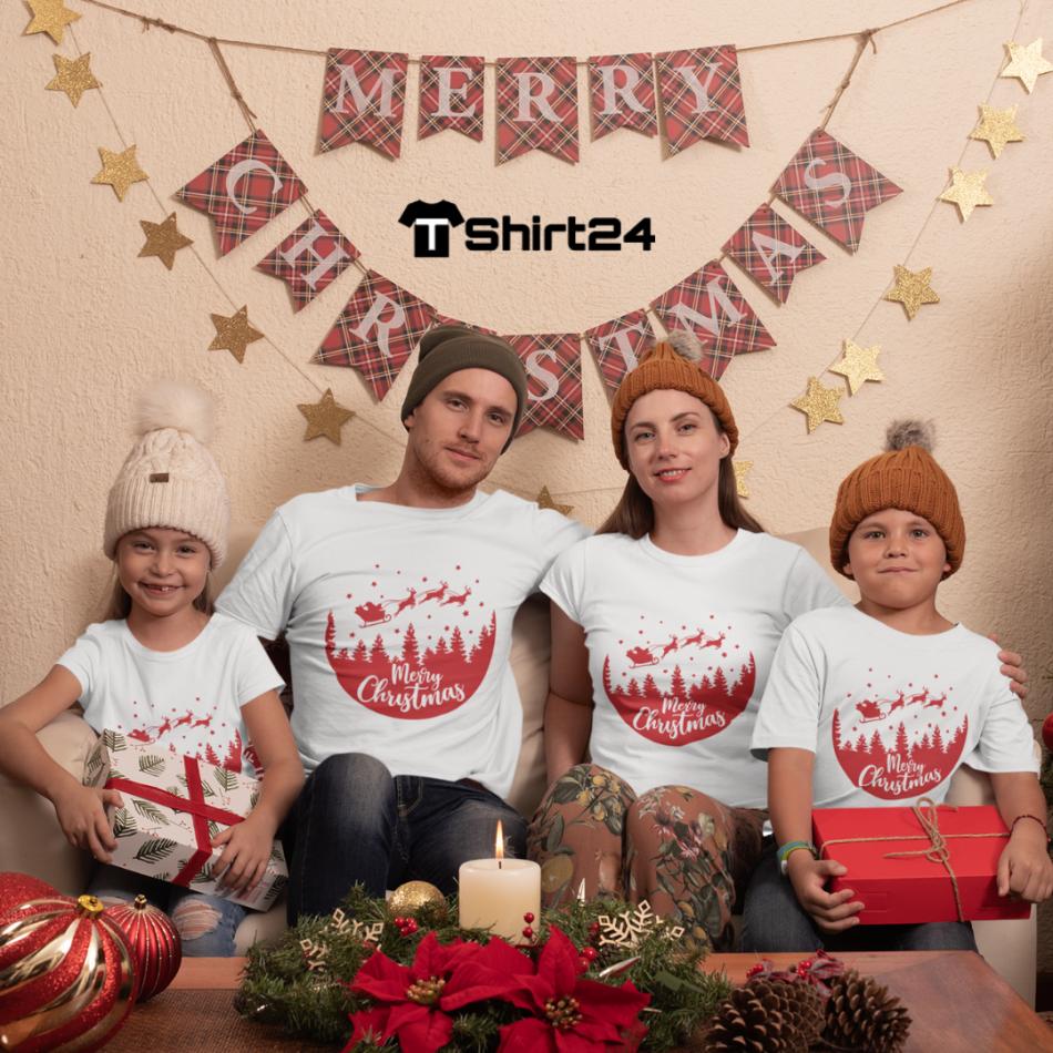 Rodinný set v bílé barvě Merry Christmas Night Ride