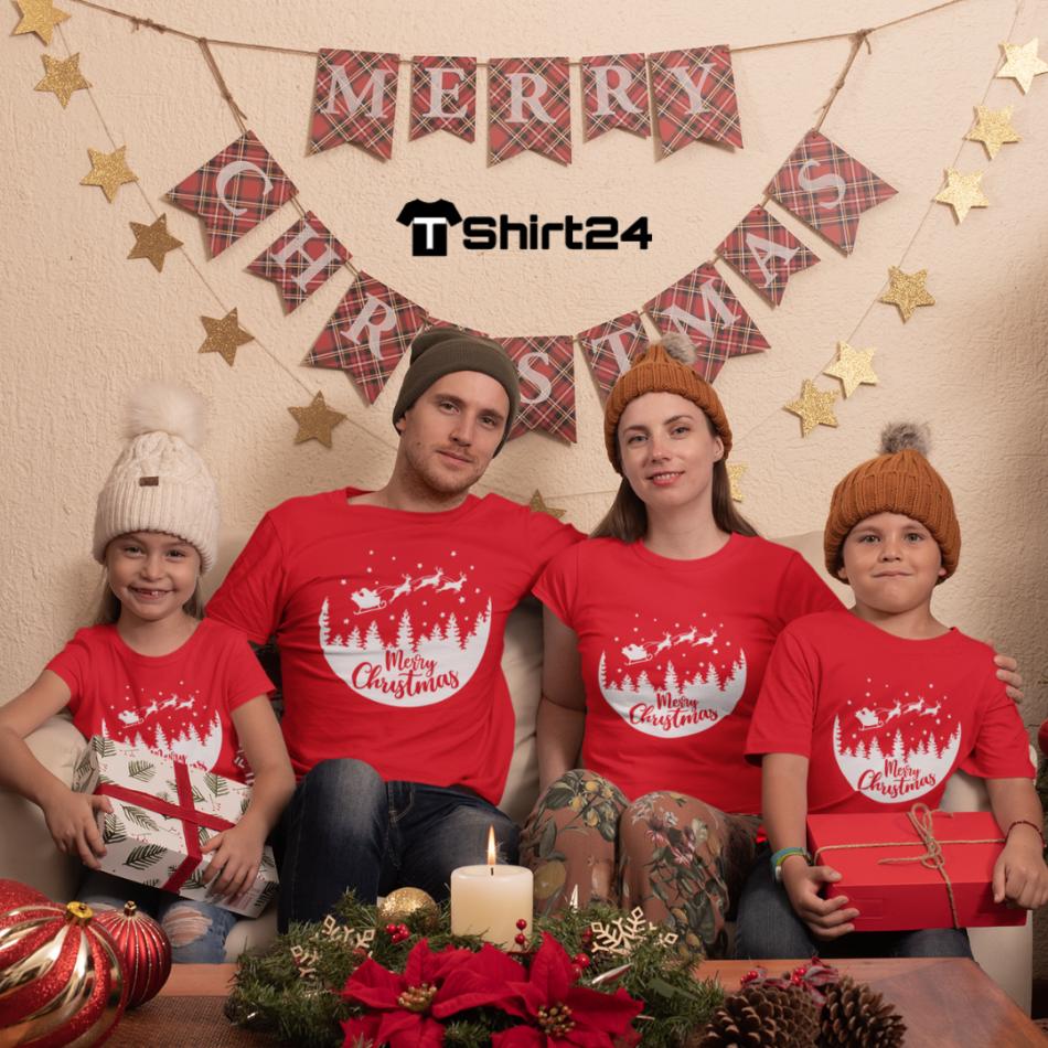 Rodinný set v červené barvě Merry Christmas Night Ride