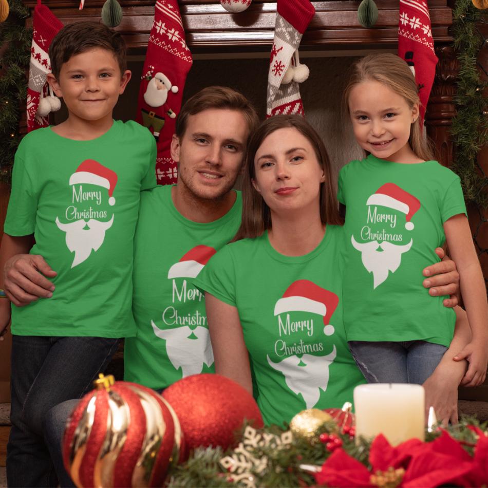 Rodinný set v zelené barvě Merry Christmas Beard