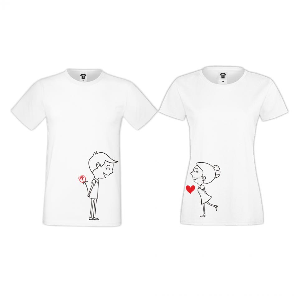 Bílá trička pro páry Boy and Girl
