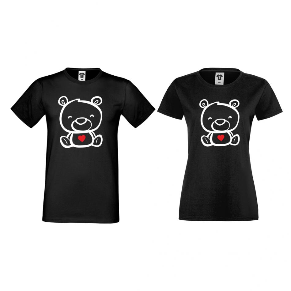 Trička pro páry v černé barvě Bears