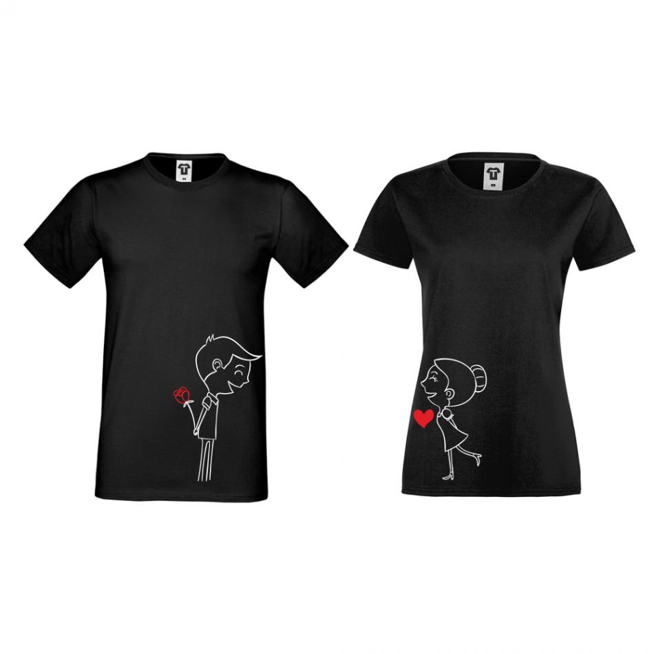 Trička pro páry v černé barvě Boy And Girl