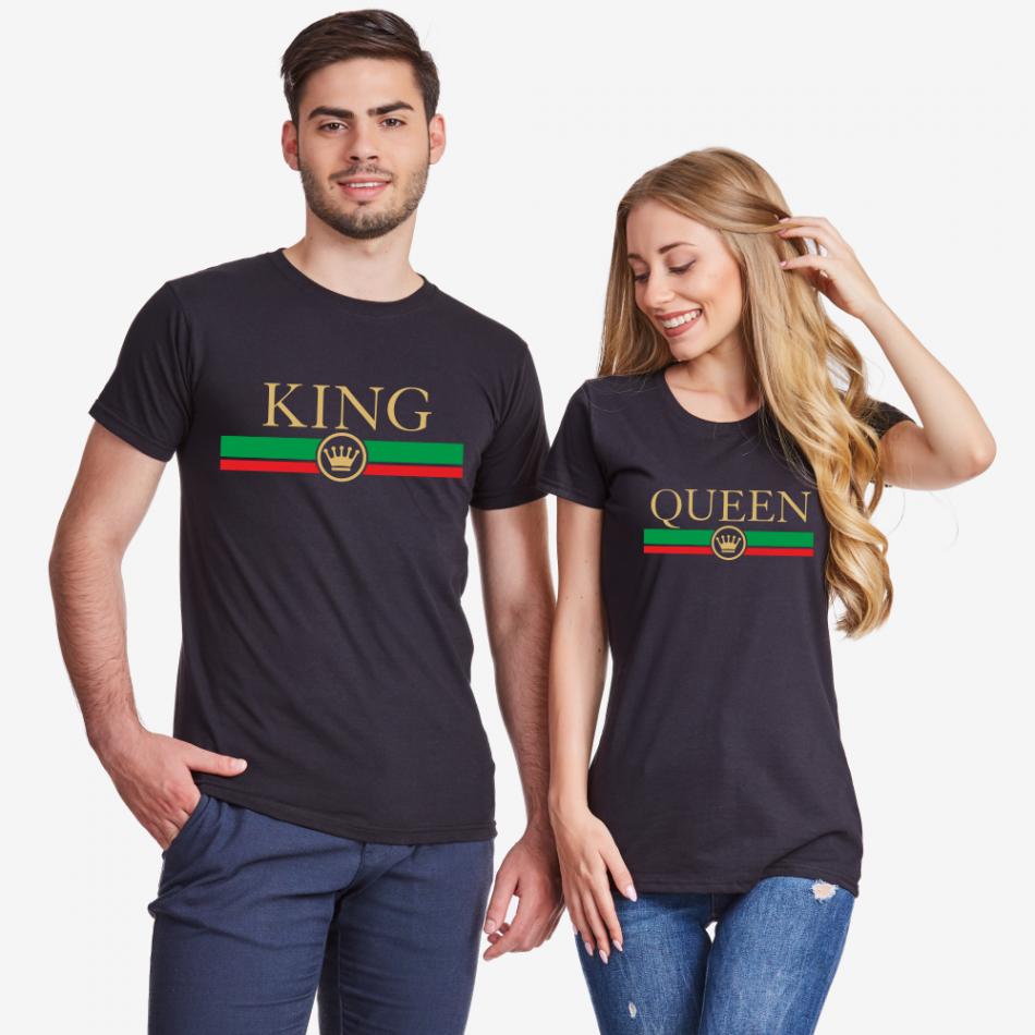 Trička pro páry v černé barvě King - Queen RG
