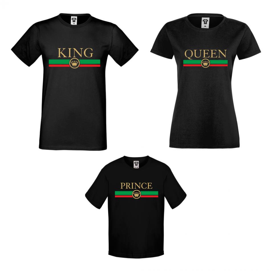 Set v černé nebo bílé barvě King - Queen - Prince  RG