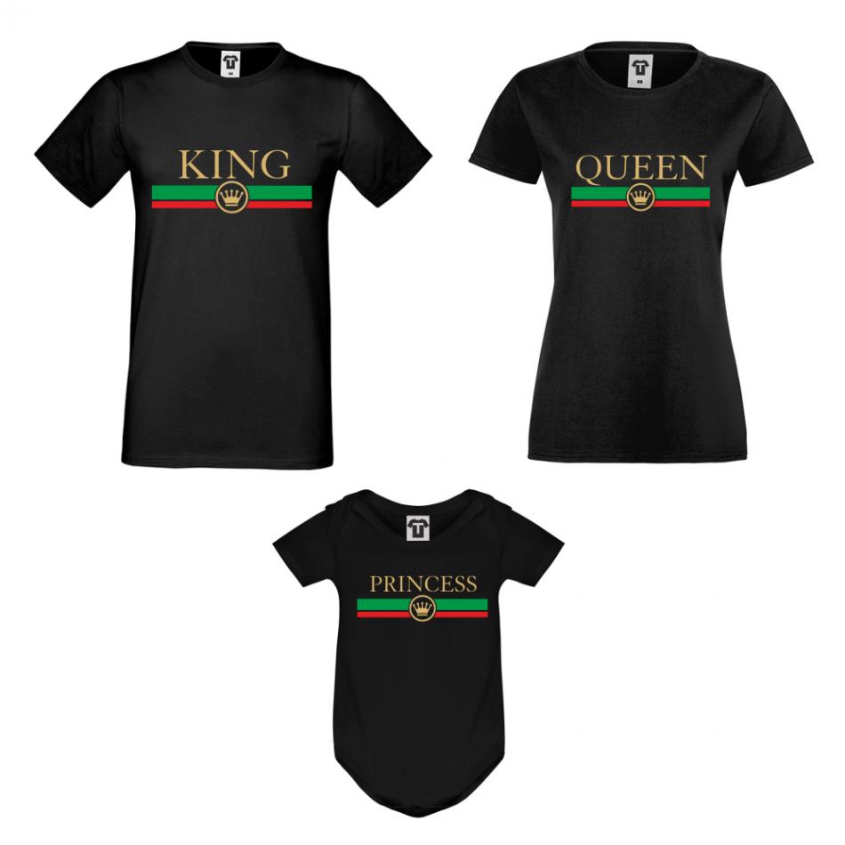 Rodinný set v bílé nebo černé barvě King - Queen - Princess RG