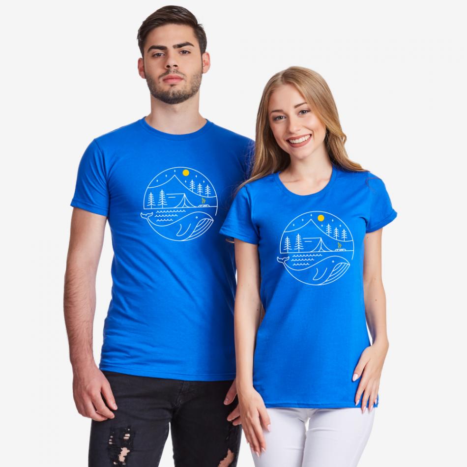 Modrá trička pro páry Camping Couple