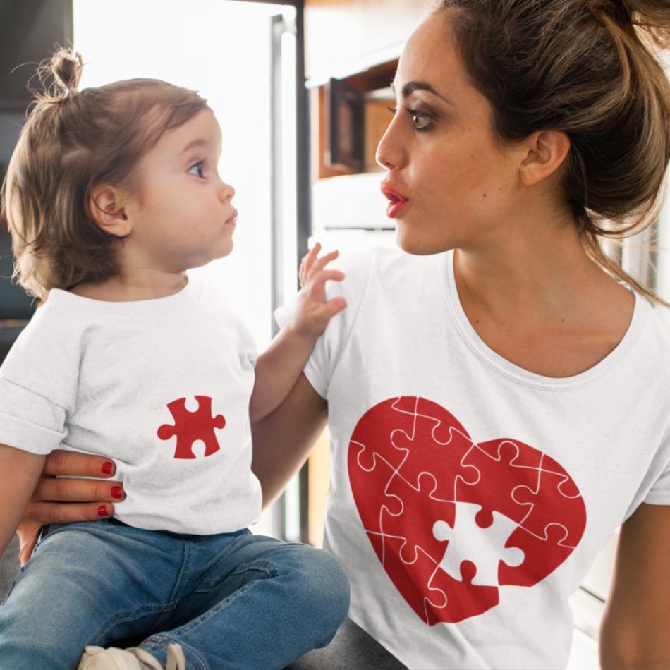 Trička pro rodiče a děti Puzzle Hearts