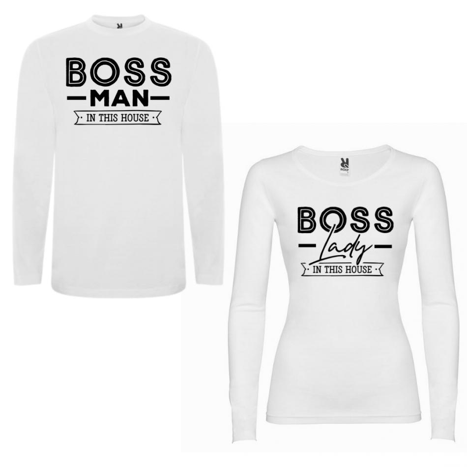 Sada triček pro páry s dlouhým rukávem Boss Man Boss Lady