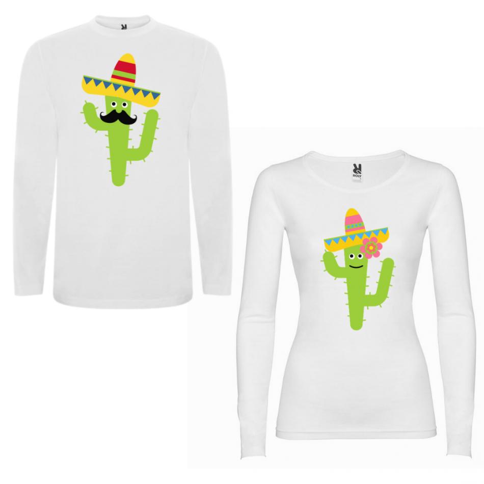 Sada triček pro páry s dlouhým rukávem Cactus Couple