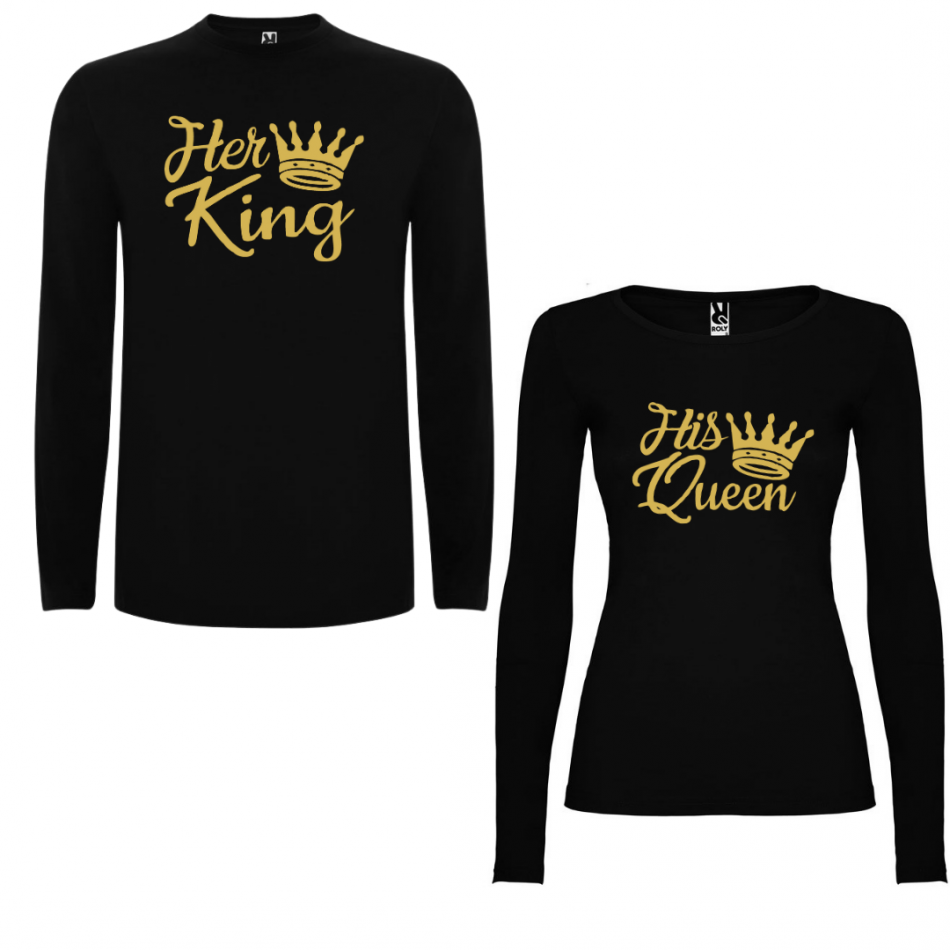 Sada triček pro páry s dlouhým rukávem Her King - His Queen