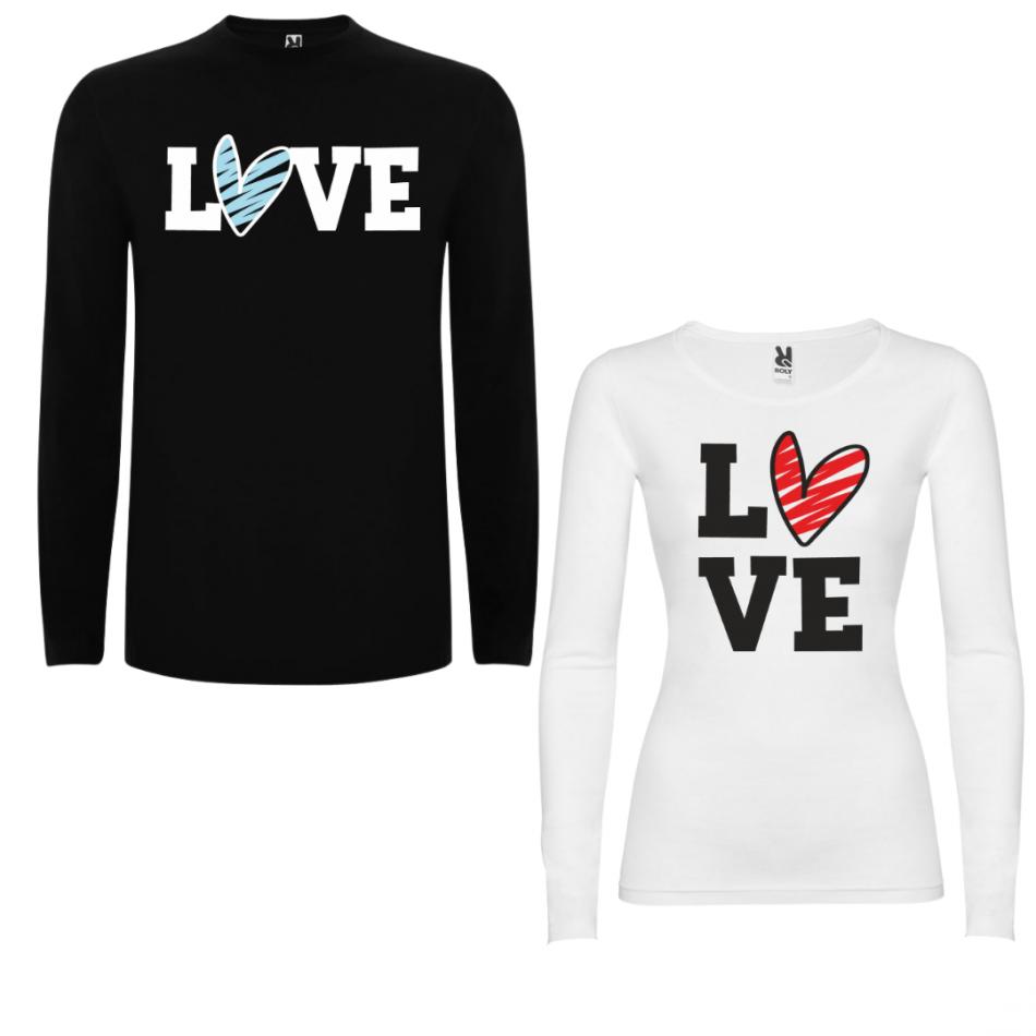 Sada triček pro páry s dlouhým rukávem LOVE Colored