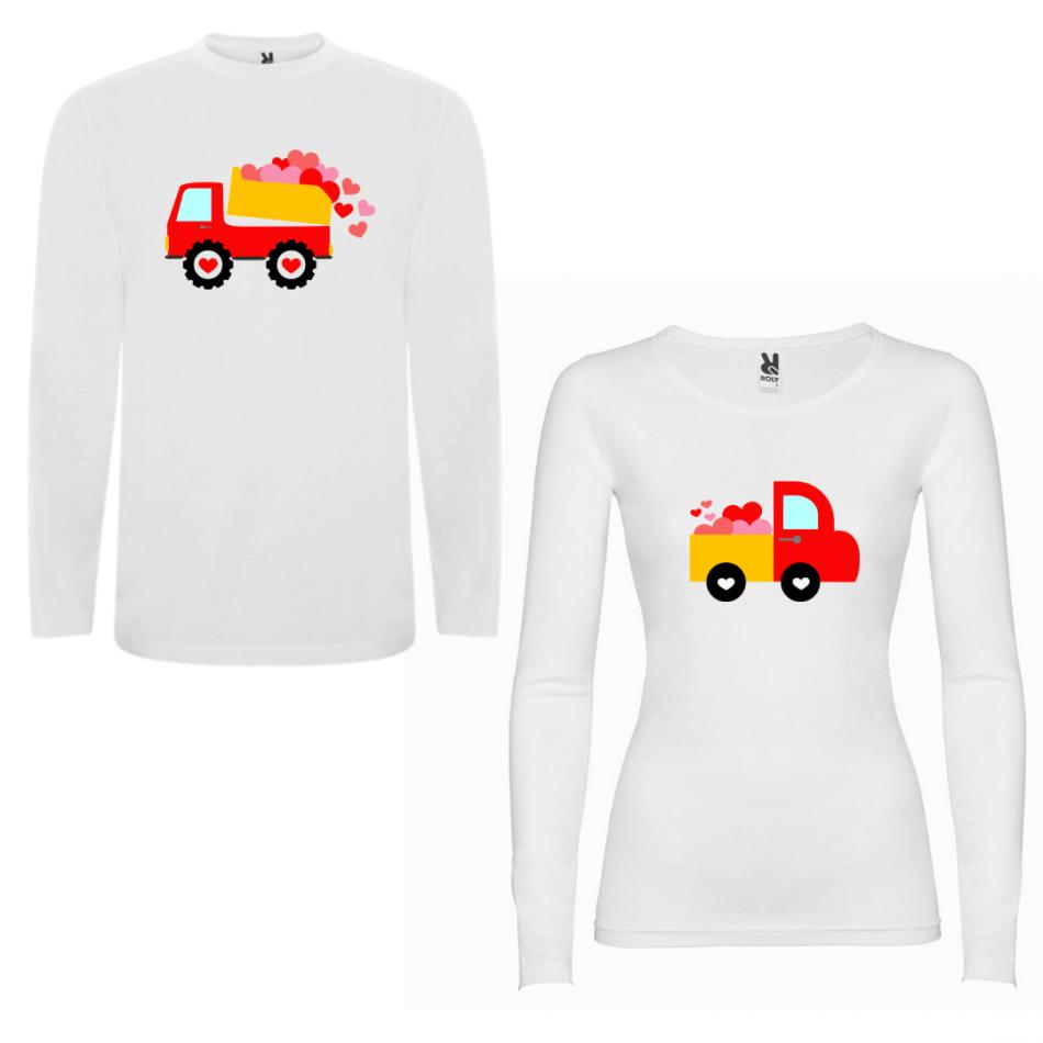 Sada triček pro páry s dlouhým rukávem Love Trucks