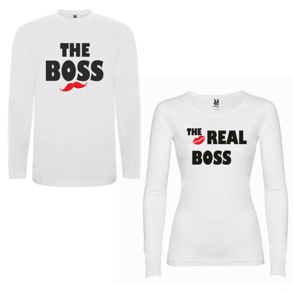 Sada triček pro páry s dlouhým rukávem The Boss - The Real Boss