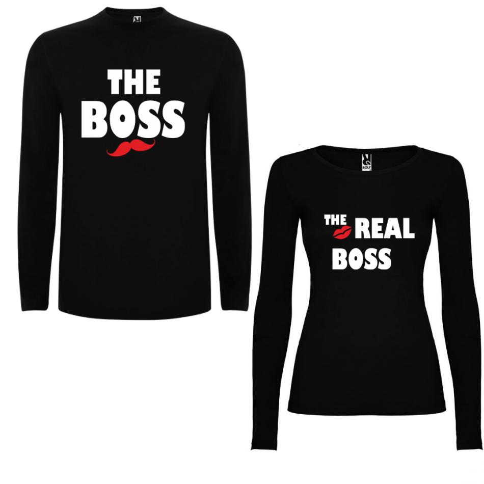 Sada triček pro páry s dlouhým rukávem The Boss - The Real Boss v černé barvě