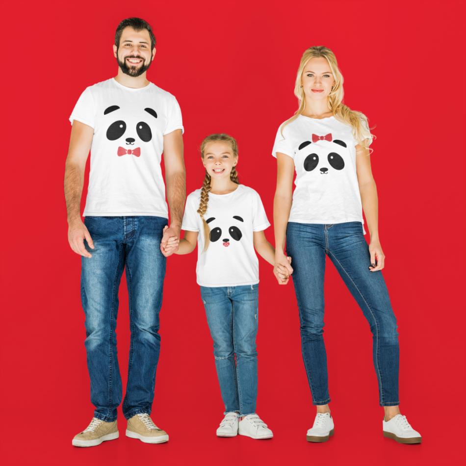 Rodinná sada triček v bílé barvě Panda