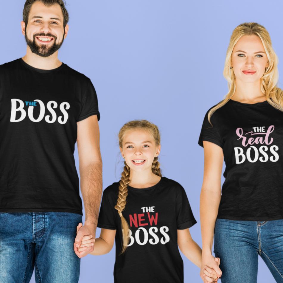 Rodinná sada v černé barvě The Boss, The Real Boss and The New Boss