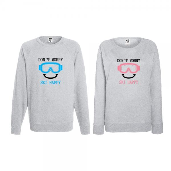 Set trička s dlouhým rukávem pro páry Don't worry ski happy
