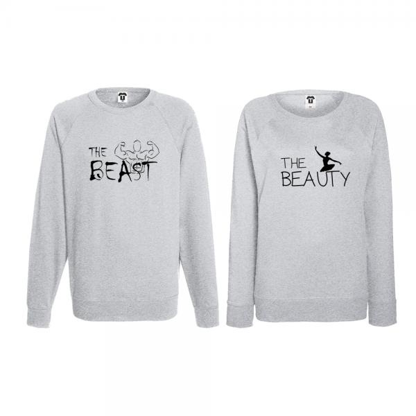 Set trička s dlouhým rukávem pro páry The Beast and The Beauty