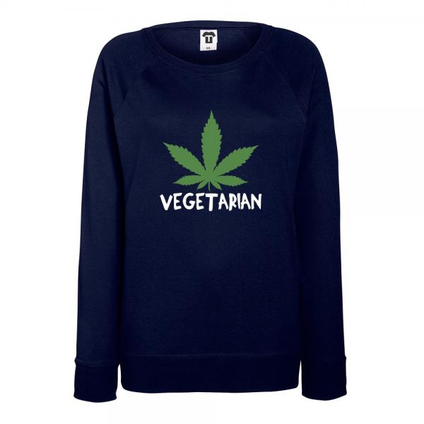 Tmavě modré Dámské tričko s dlouhým rukávem Vegetarian