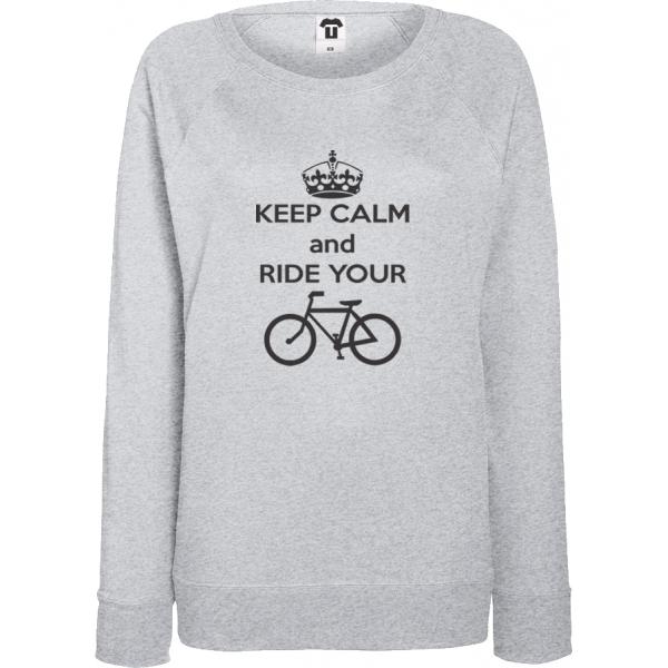 Šedé Dámské tričko s dlouhým rukávem Keep calm and ride your bike