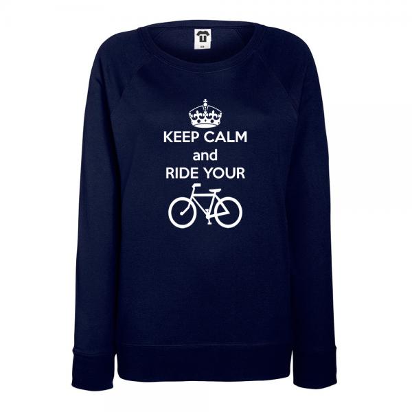 Tmavě modré Dámské tričko s dlouhým rukávem Keep calm and ride your bike