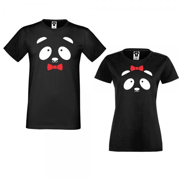 Trička pro páry Černé Sweet Panda