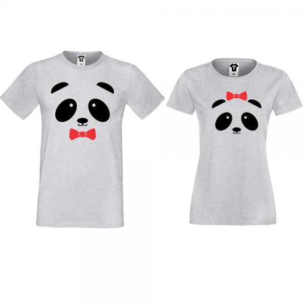 Trička pro páry Šedé Sweet Panda