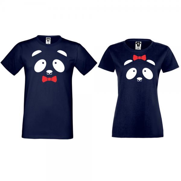 Trička pro páry Tmavě modré Sweet Panda