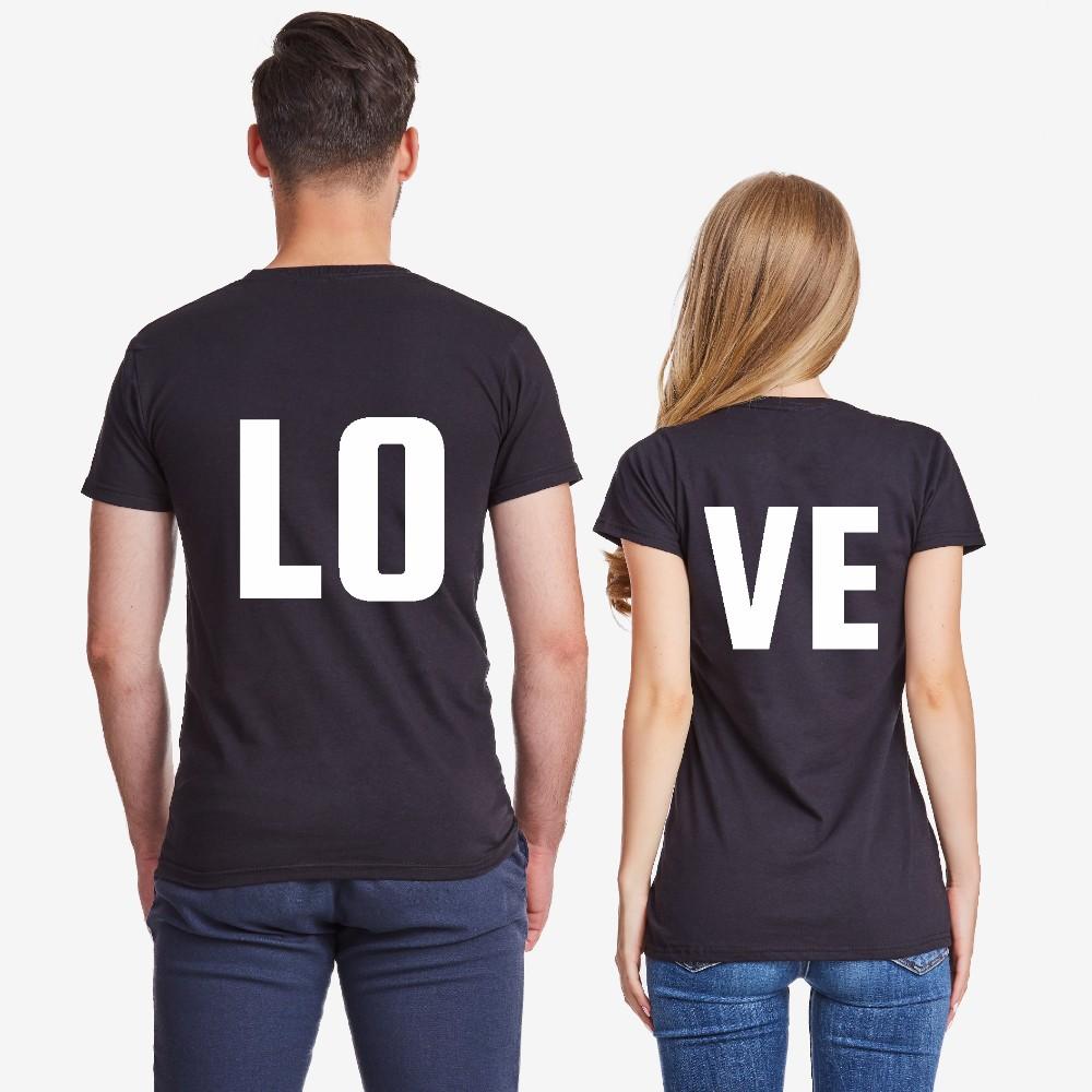 Trička pro páry v černé barvě LOVE