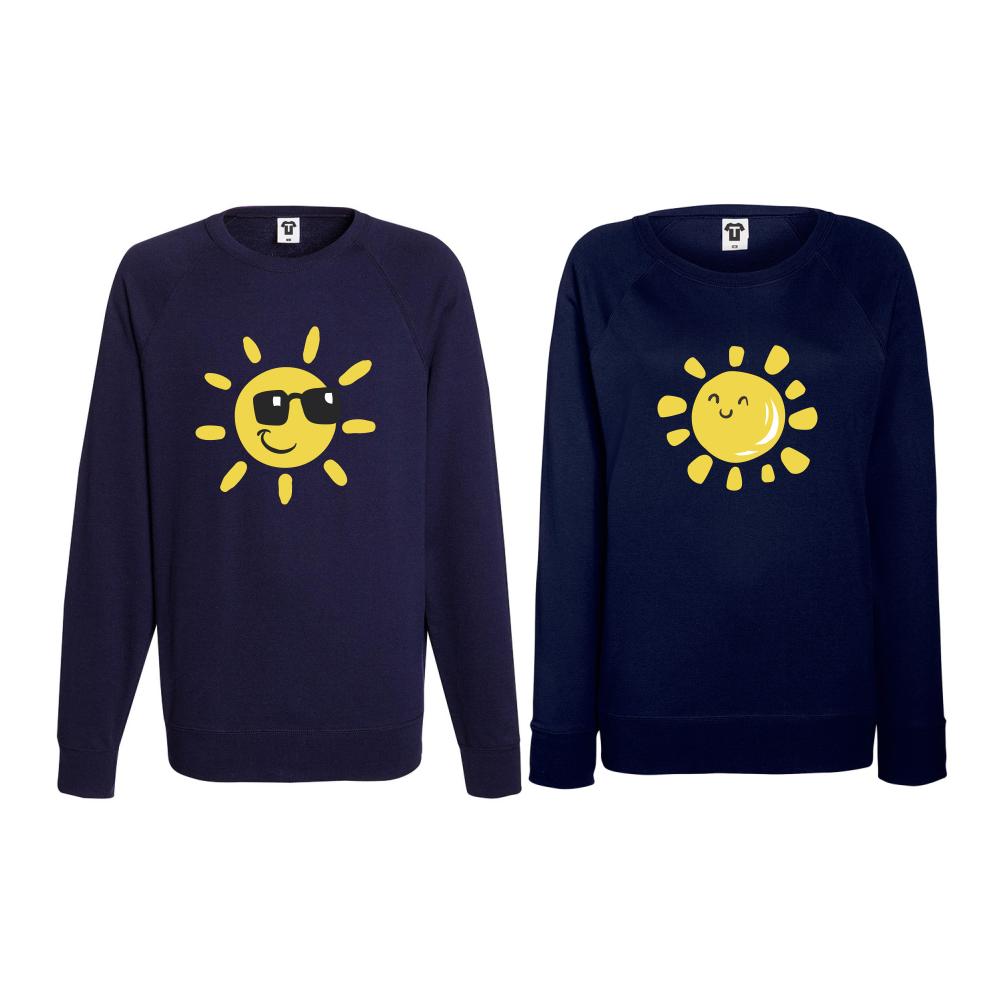Set trička s dlouhým rukávem pro páry Sun, Smile and Sunglasses BD-CP-036N