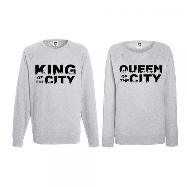 Set trička s dlouhým rukávem pro páry King Queen of the city BD-CP-169G