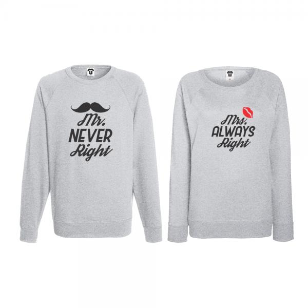 Set trička s dlouhým rukávem pro páry Mr Never Right and Mrs Always Right