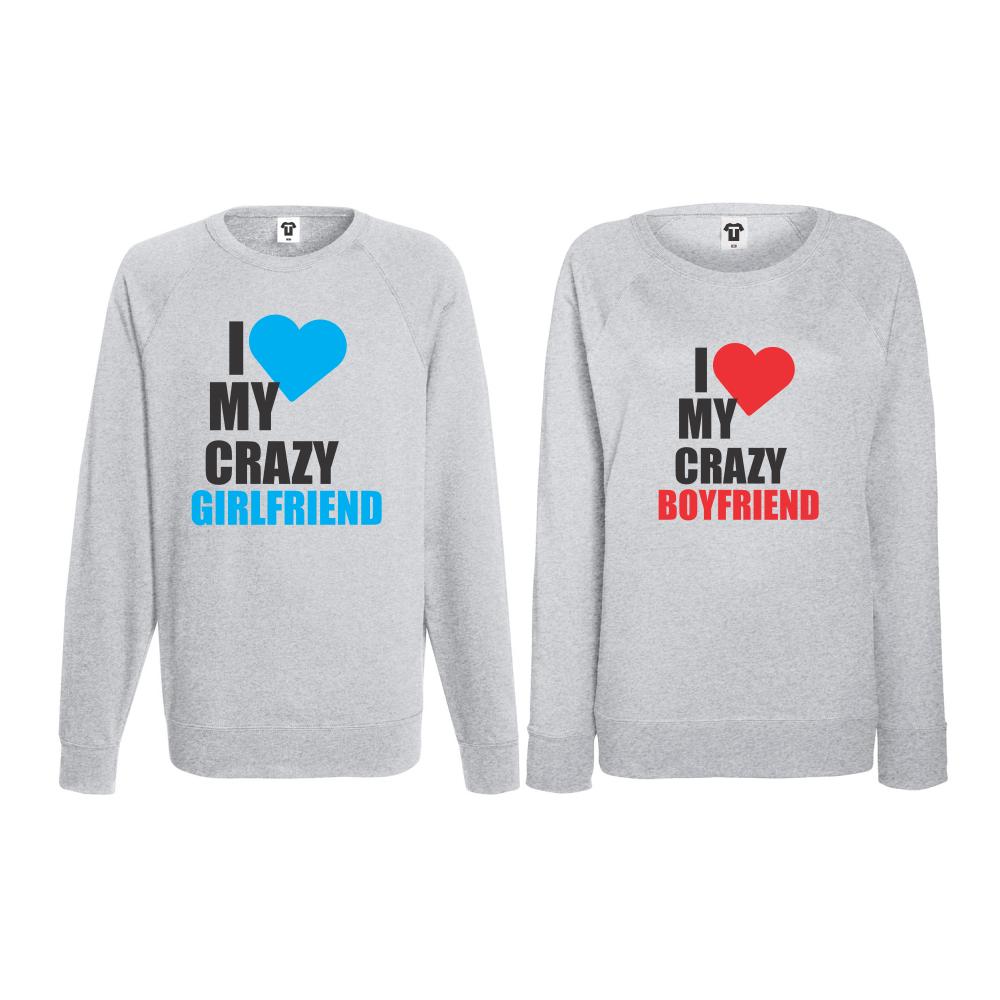 Set triko s dlouhým rukávem I Love my Crazy BoyFriend BS-CP-006G
