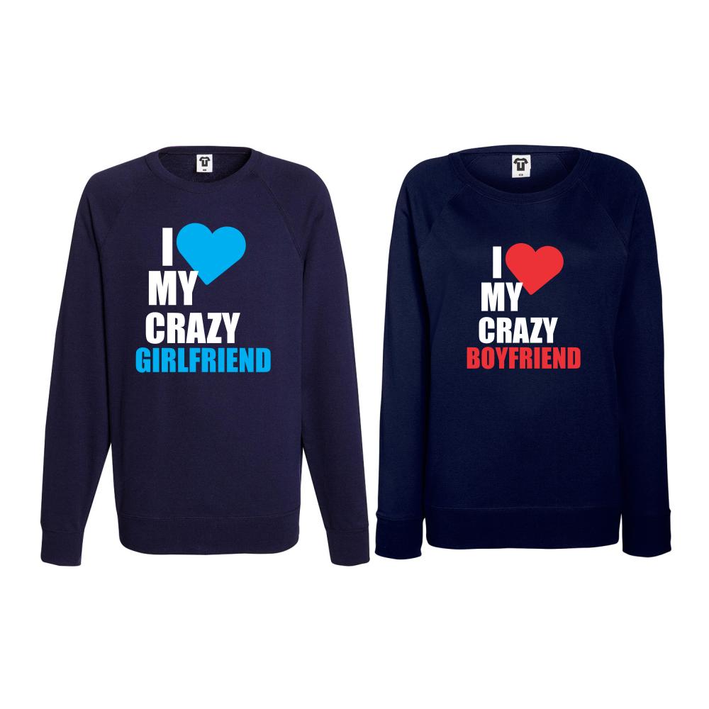 Set triko s dlouhým rukávem I Love my Crazy BoyFriend BS-CP-006N