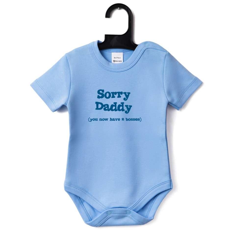 Kojenecké body světlě modrá Sorry Daddy B-D-151B1