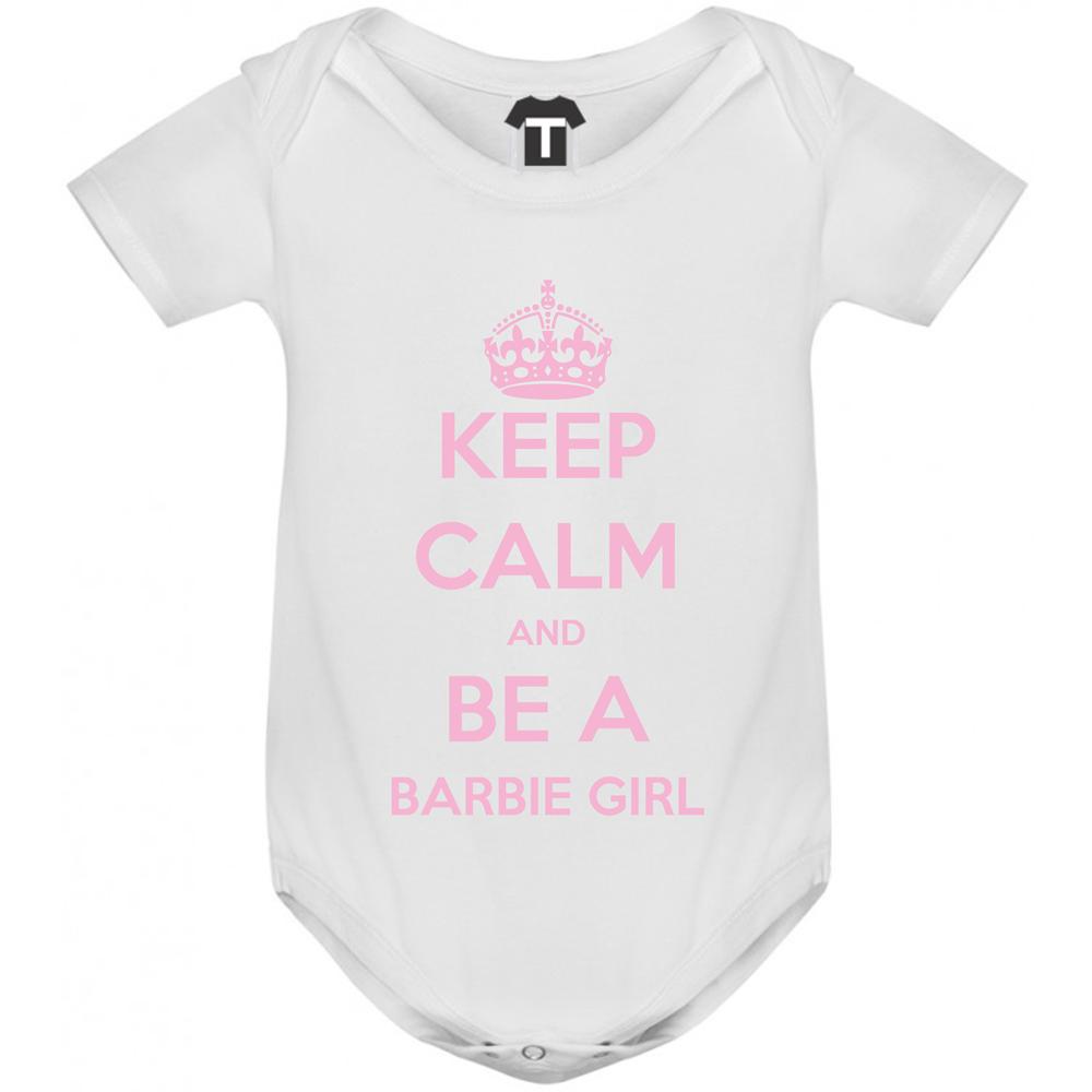 Kojenecké body bílé Keep Calm and be a barbie girl B-D-142