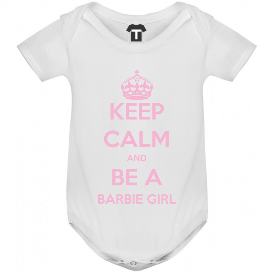 Kojenecké body bílé Keep Calm and be a barbie girl B-D-142