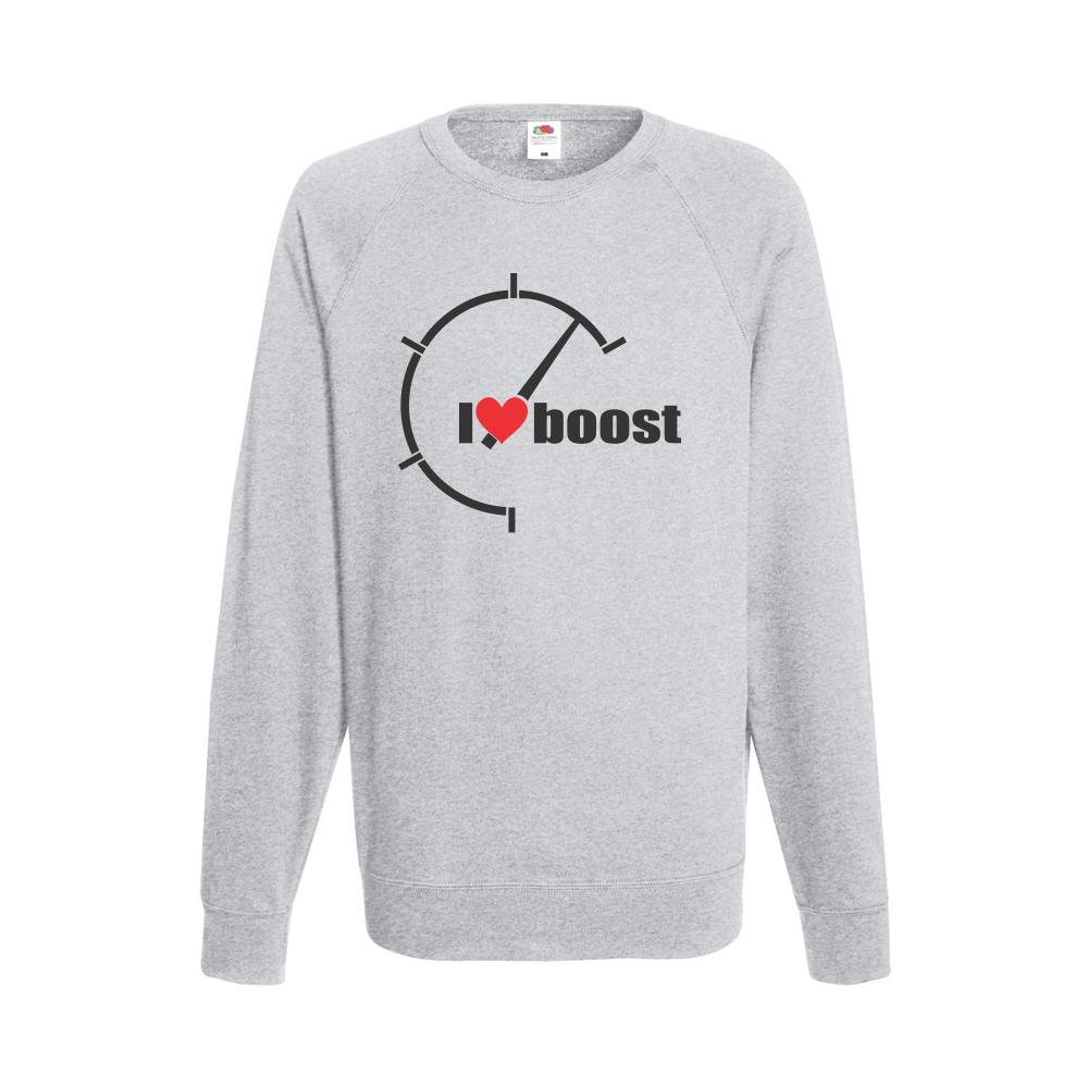 Šedé pánské triko s dlouhým rukávem I Love Boost  B-M-AU-042G