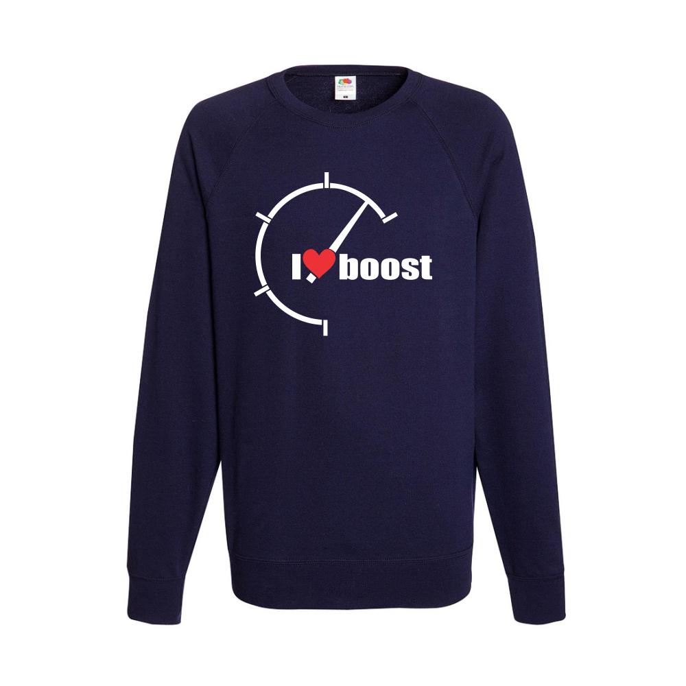 Tmavě modré pánské triko s dlouhým rukávem I Love Boost  B-M-AU-042N
