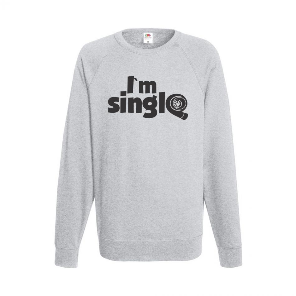 Šedé pánské triko s dlouhým rukávem I'm single B-M-AU-045G