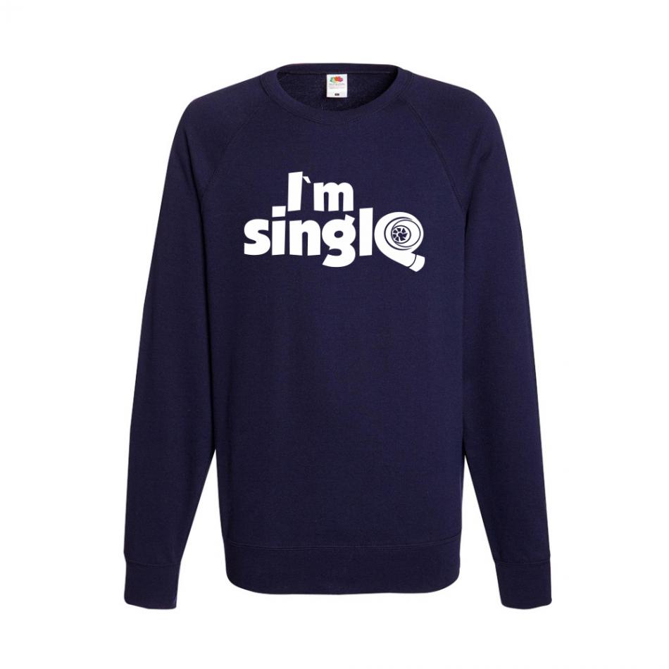 Tmavě modré pánské triko s dlouhým rukávem I'm single B-M-AU-045N