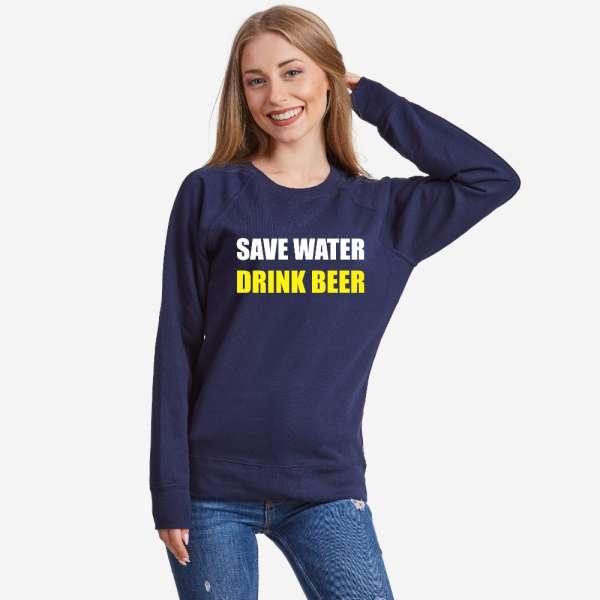 Tmavě modré Dámské tričko s dlouhým rukávem Save water Drink Beer