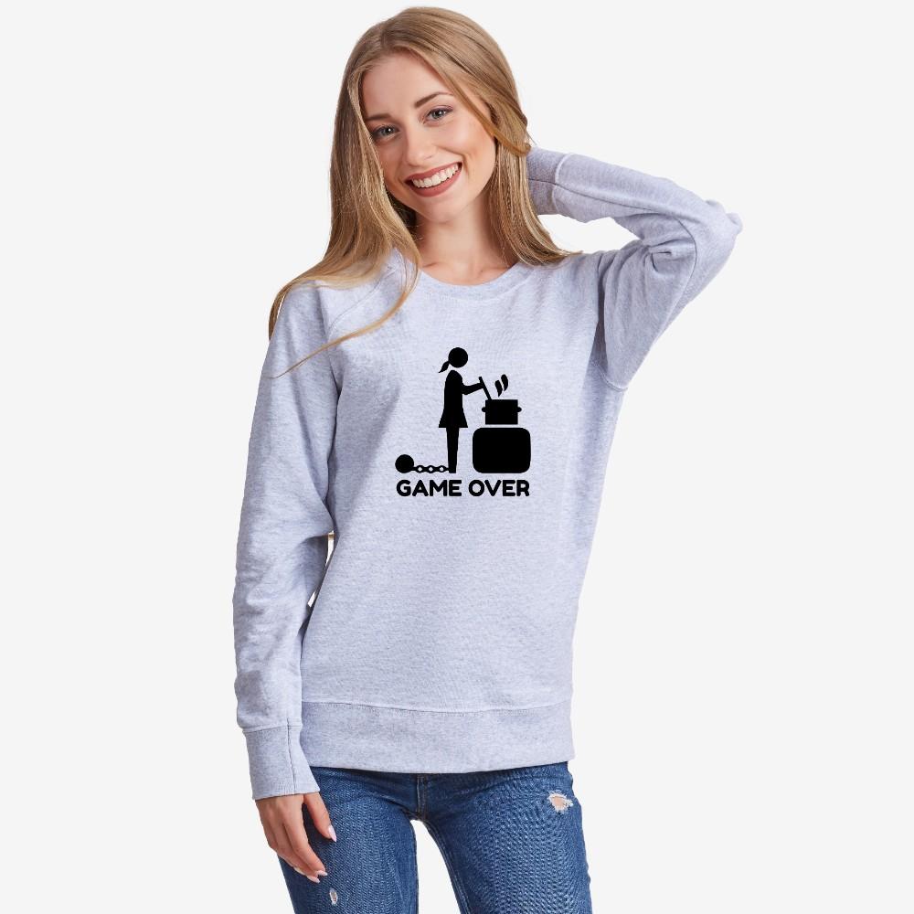 Šedé Dámské tričko s dlouhým rukávem Game Over