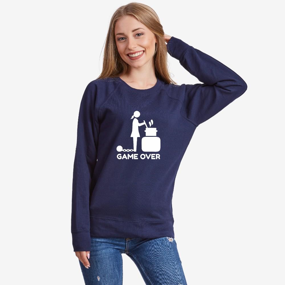 Tmavě modré Dámské tričko s dlouhým rukávem Game Over